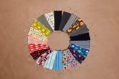 Cotton Reusable Face Masks are arranged in circular pattern