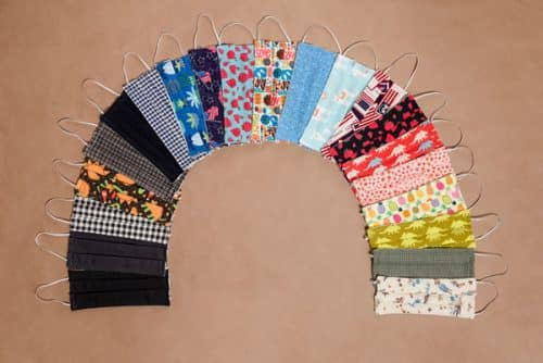 Cotton Reusable Face Masks are arranged in arch pattern