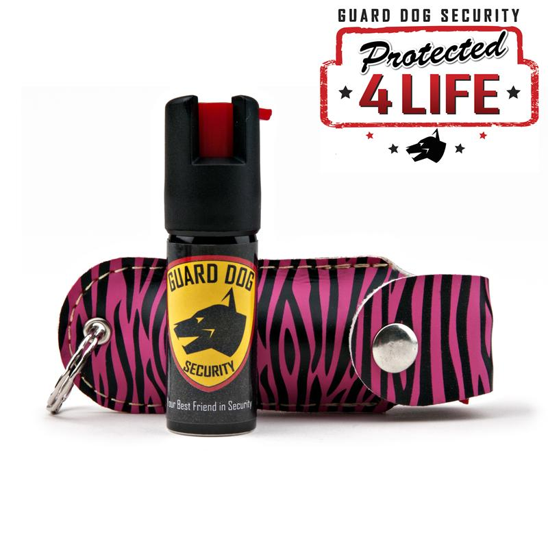 pepper spray with pink and black stripped cover