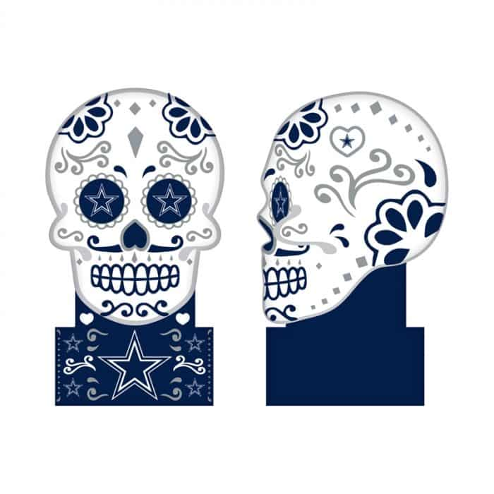 Dallas Cowboys - Sugar Skull Statue - Front and Side View