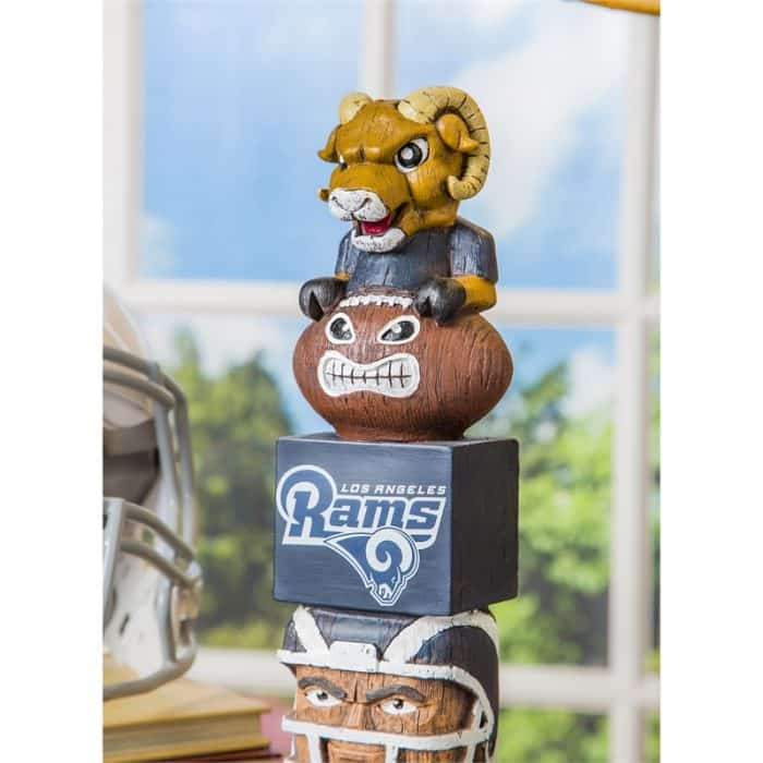 LA Rams - Tiki Totem Garden Statue - Close Up with Mascot Shape Focused