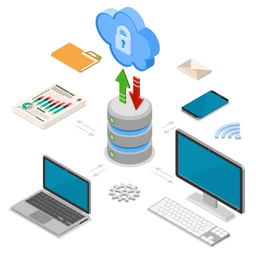 desktop, laptop, and mobile along with documents, folders, envelopes with data storage and security cloud in center.