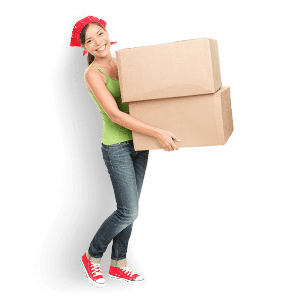 A lady with a scarf tied on her head is holding two boxes stacked up indicating she might be taking them to ship.