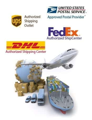 Plane, ship, truck and glob along with USPS, FedEx, UPS and DHL logos along with boxes