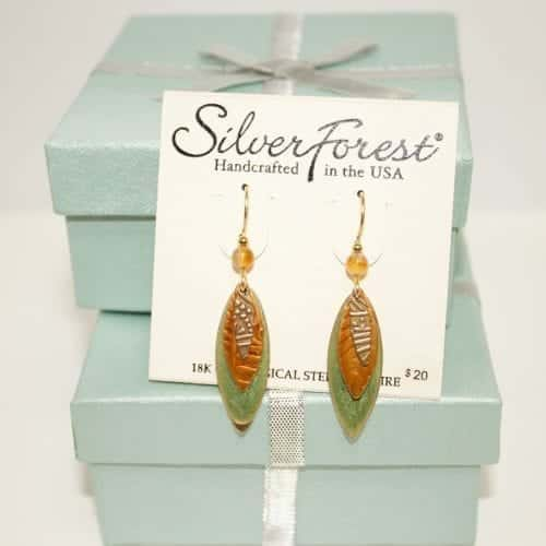 earrings made of leaf shape with price tag showing $20 on right bottom corner