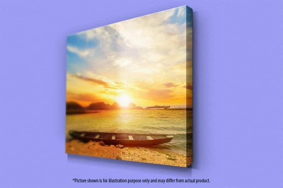 Mounted canvas mock up with perspective view showing. A sunset picture is on mounted canvas frame.
